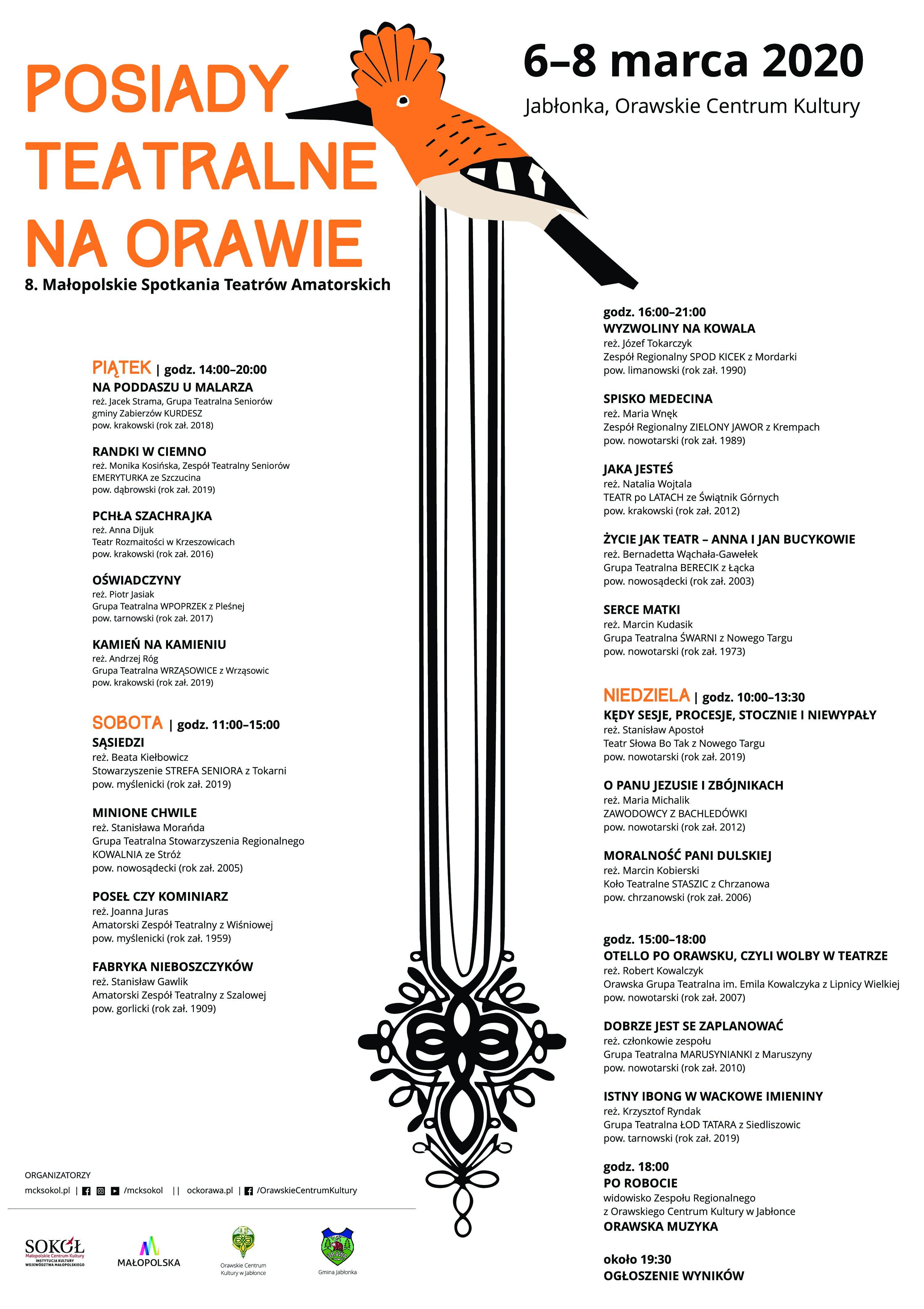 8.Małopolskie Spotkania Teatrów Amatorskich – POSIADY TEATRALNE na Orawie. Jabłonka, 6-8 marca 2020