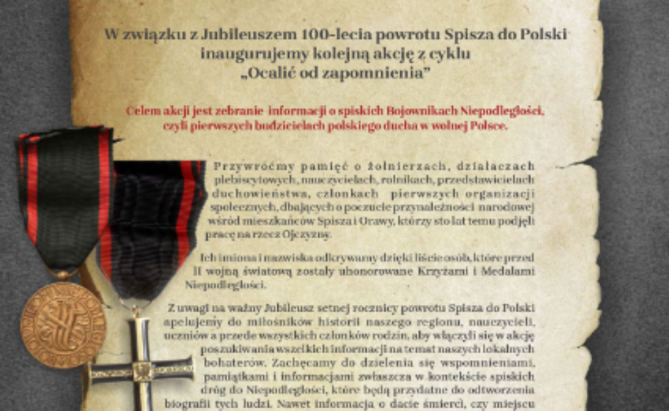 Spiskie drogi do niepodległości – projekt z okazji 100. Rocznicy powrotu Spisza do Polski