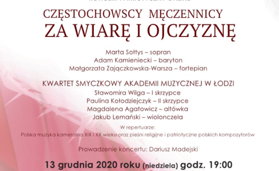 Koncert online w Oddziale NIKIDW Częstochowie – 13 grudnia o godz. 19.00.